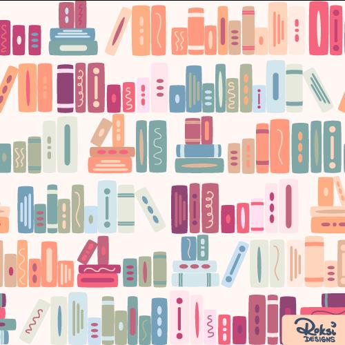 bookish dreams book bookshelf pattern