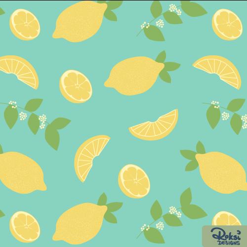 drinking lemonade citrus pattern