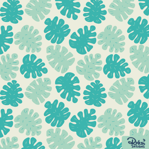 in the shade beach monstera leaf pattern