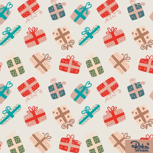 lets open presents, christmas pattern, gifts, xmas
