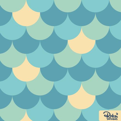 ocean mermaid scales beach pattern