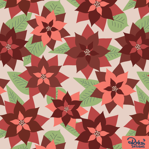 warm blossoms, christmas poinsettia pattern