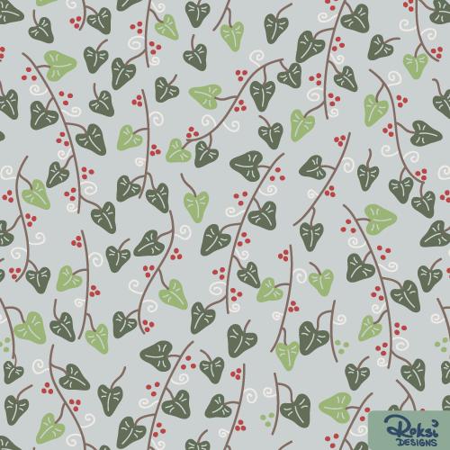 winter wonderland floral pattern ivy